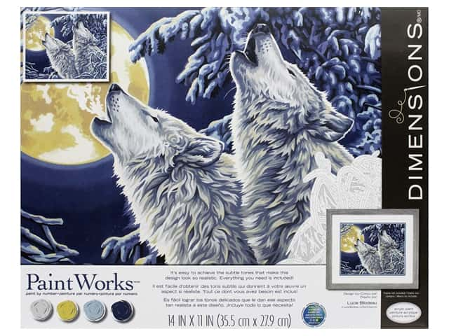 Paint Works Paint By Number Kit 14 in. x 11 in. Moonlight Wolves
