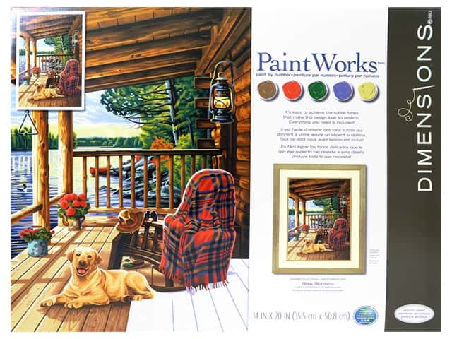 "Paint Works Paint By Number Kit 14""x 20"" Log Cabin Porch"