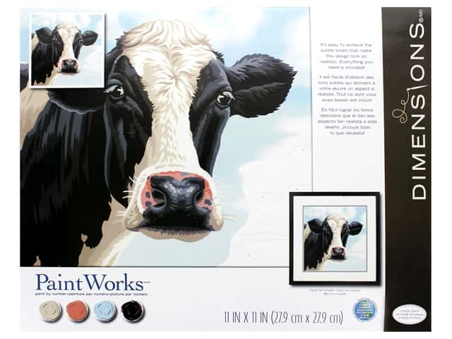 Paint Works Paint By Number Kit 11 x 11 in. Cow