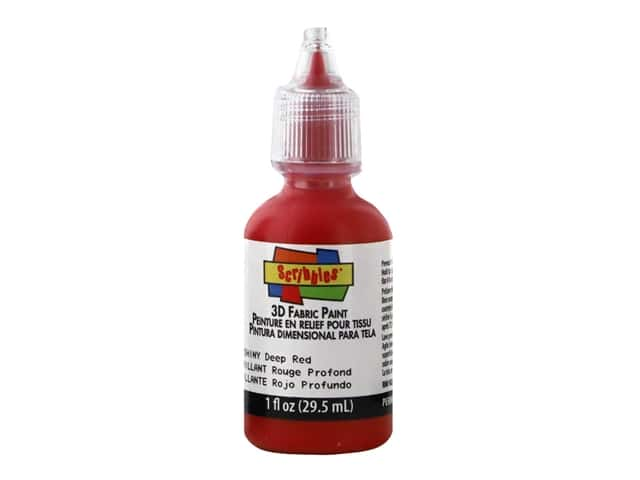 Scribbles 3D Fabric Paint - Shiny Deep Red 1 oz.