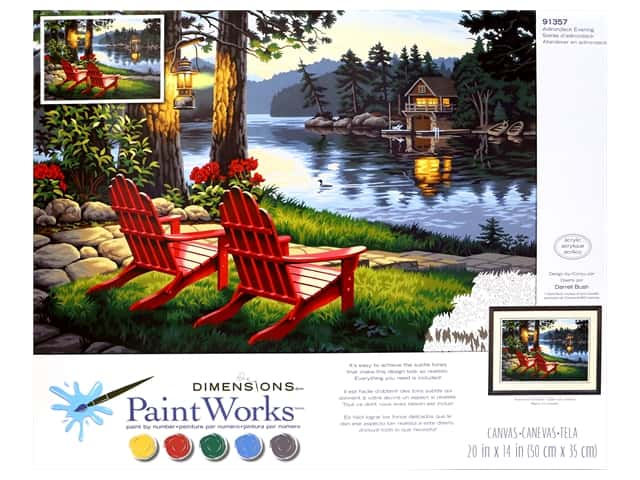 Paint Works Paint By Number Kit 20 in. x 14 in. Adirondack Evening