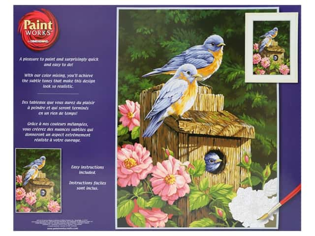 Paint Works Paint By Number Kit 14 in. x 20 in. Garden Bluebirds