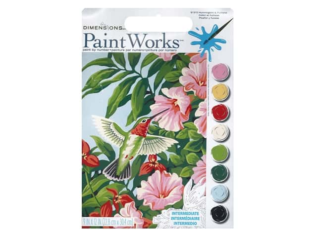 Paintworks Paint By Number Kit 9 x 12 in. Hummingbird & Fuchsias