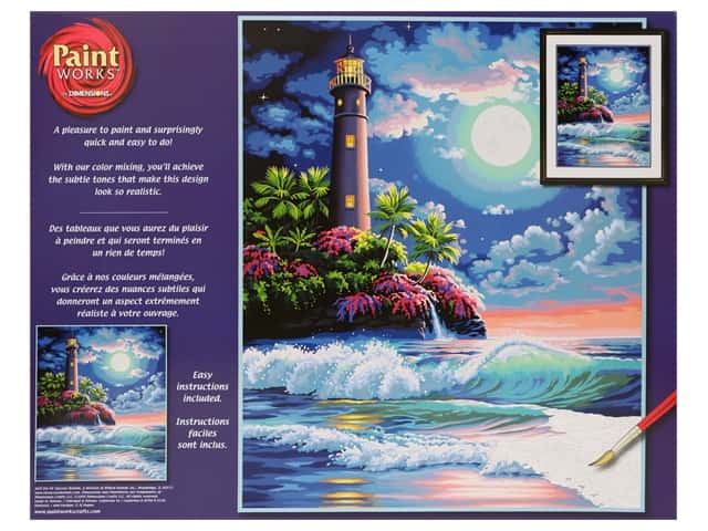 Paint Works Paint By Number Kit 16 in. x 20 in. Lighthouse In Moonlight