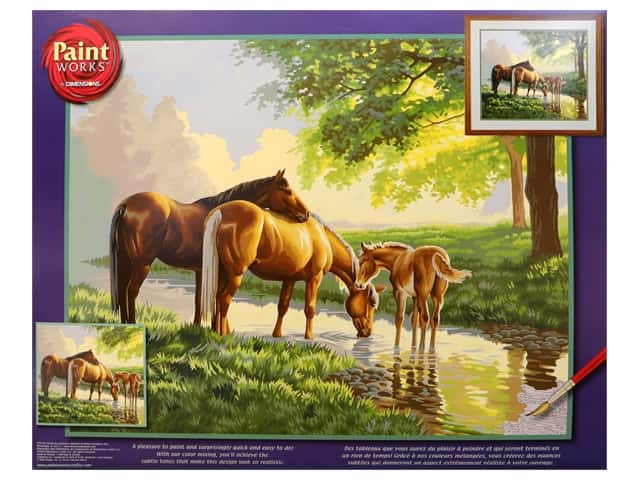 Paint Works Paint By Number Kit 20 x 16 in. Horses By A Stream