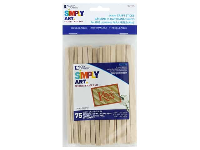 Loew Cornell Simply Art Wood Skinny Craft Sticks 75 pc.