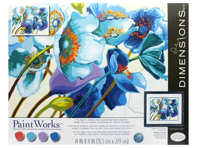 Paint Works Paint By Number Kit 14 in. x 11 in. Blue Poppies