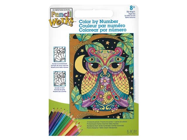 Paint Works Pencil Color By Number Kit Pencil 9 in. x 12 in. Night Owl