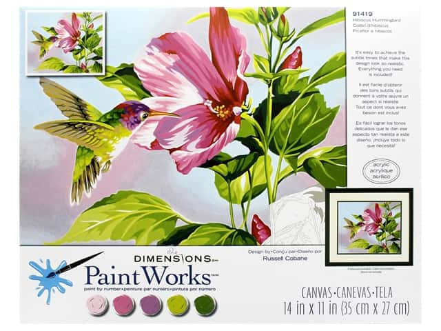 Paint Works Paint By Number Kit 14 in. x 11 in. Hibiscus Hummingbird