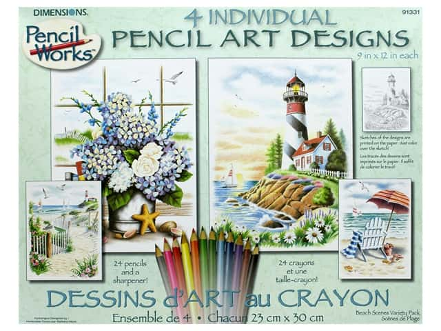 Paint Works Pencil Color By Number Kit Pencil 9 in. x 12 in. Beach Scenes 4 pk