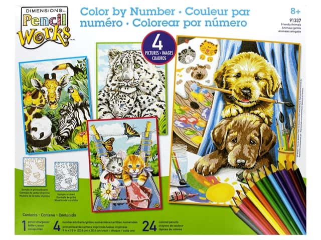 Paint Works Pencil Color By Number Kit Pencil Friendly Animals 4 pk