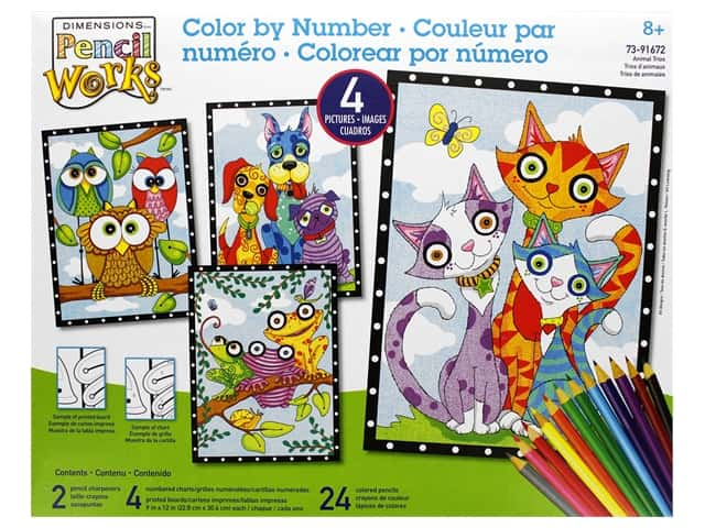 Paint Works Pencil Color By Number Kit Pencil 9 in. x 12 in. Animal Trios 4pk