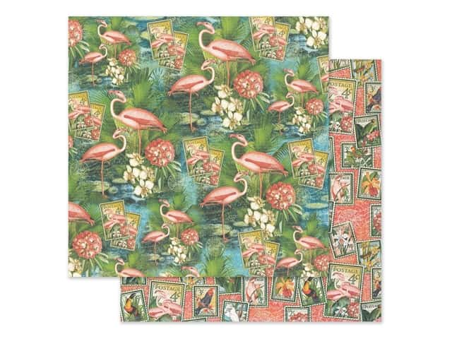 Graphic 45 Lost In Paradise Paper 12 in. x 12 in. Flamingo Lagoon