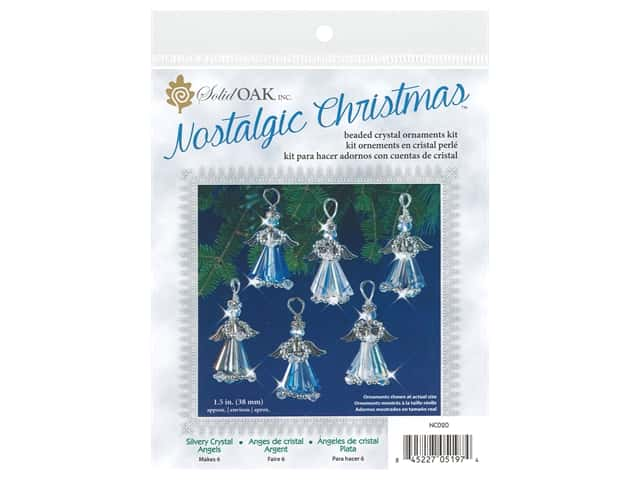 Solid Oak Kit Beaded Ornament Crystal Angels Silver