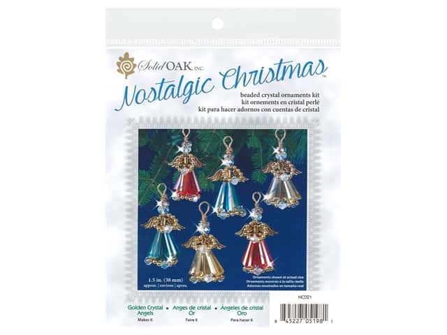 Solid Oak Kit Beaded Ornament Crystal Angels Gold