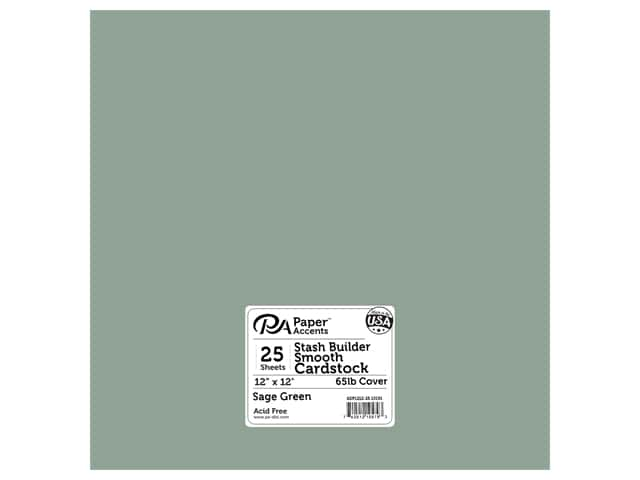 Paper Accents Cardstock 12 in. x 12 in. Stash Builder 65 lb 25 pc Pack Sage Green