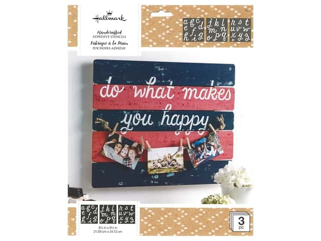 Plaid Hallmark Handcrafted Adhesive Stencils 8 1/2 x 9 1/2 in. Happy Script Font
