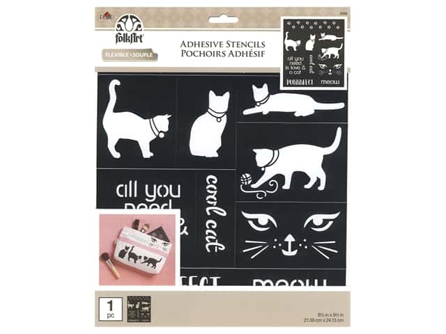 Plaid Folkart Adhesive Stencils - Cat