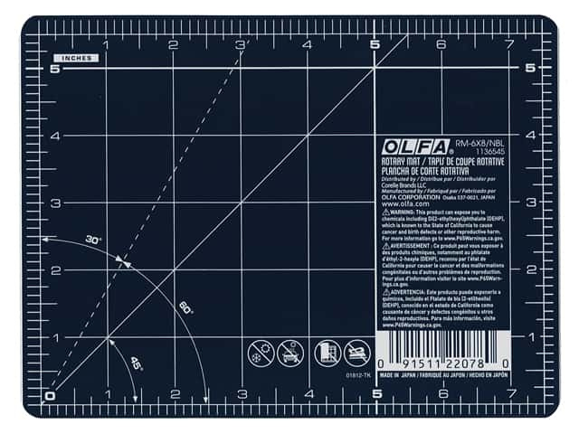 Olfa Rotary Mat 6 in. x 8 in. Navy Blue With Grid