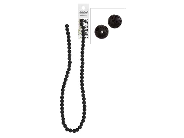 John Bead Semi-Precious 16 in. 6 mm Round Black Lava Natural