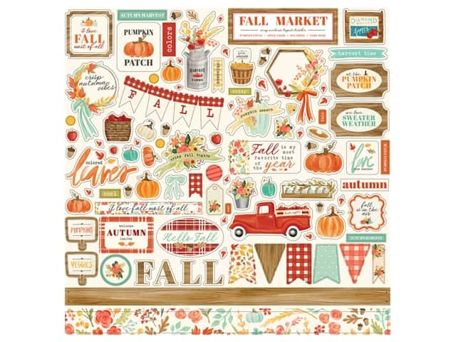 "Carta Bella Collection Fall Market Sticker 12""x 12"" Elements"
