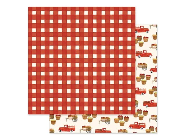 "Carta Bella Collection Fall Market Paper 12""x 12"" Red Gingham"