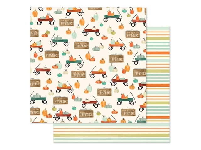 "Carta Bella Collection Fall Market Paper 12""x 12"" Wagon Time"