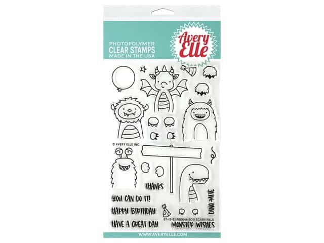 Avery Elle Clear Stamp Peek A Boo Scary Pals