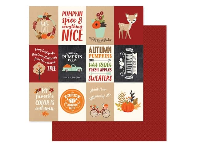 "Echo Park Collection My Favorite Fall Paper 12""x 12"" Journaling Card 3""x 4"""