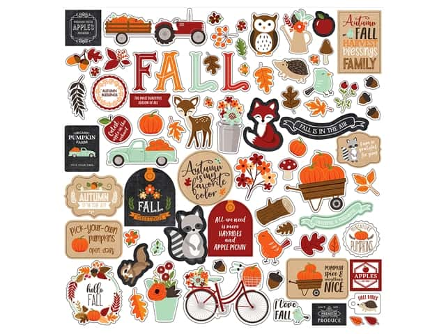 "Echo Park Collection My Favorite Fall Sticker 12""x 12"" Element"