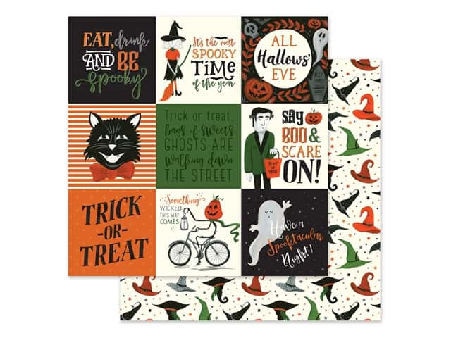 "Echo Park Collection Trick Or Treat Paper 12""x 12"" Journaling Cards 4""x 4"""