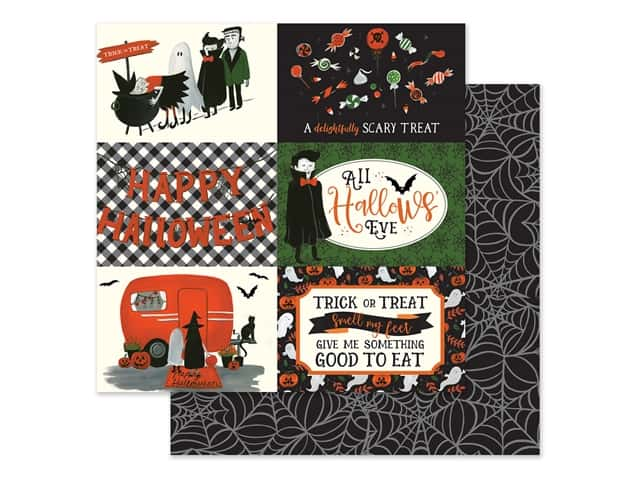 "Echo Park Collection Trick Or Treat Paper 12""x 12"" Journaling Cards 4""x 6"" Horizontal"