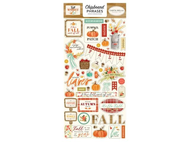 "Carta Bella Collection Fall Market Chipboard 6""x 12"" Phrases"