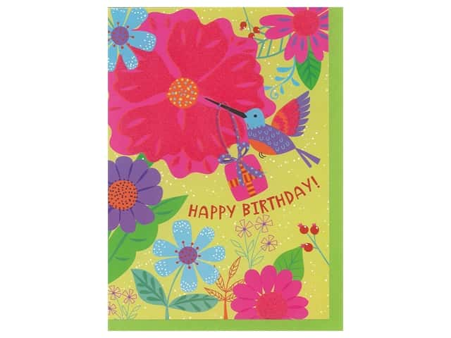Paper House Diecut Card Greeting Flock Hummingbird & Flower