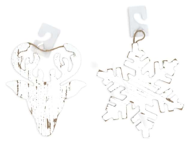 Darice Wood Christmas Ornament Snowflake/Deer White Wash Assorted
