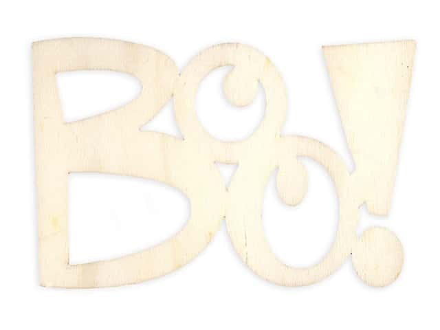 Darice Wood Cut Out Word BOO Unfinished