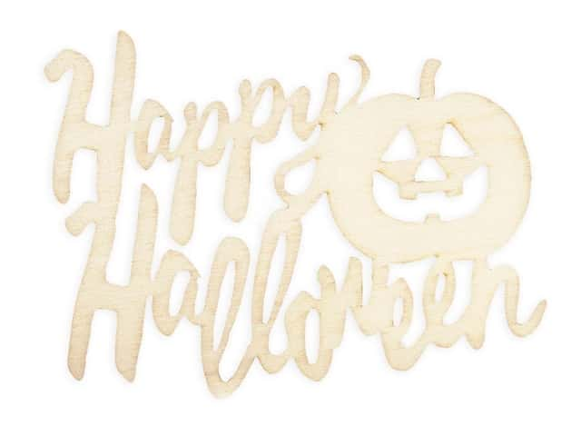Darice Wood Cut Out Word Happy Halloween Unfinished