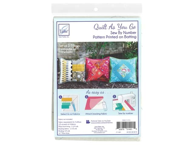 June Tailor Batting Quilt As You Go Cotton/Polyester Pillow 3 pc