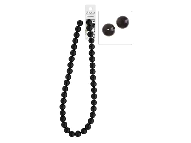 John Bead Semi-Precious 16 in. 10 mm Round Black Onyx Natural Dyed