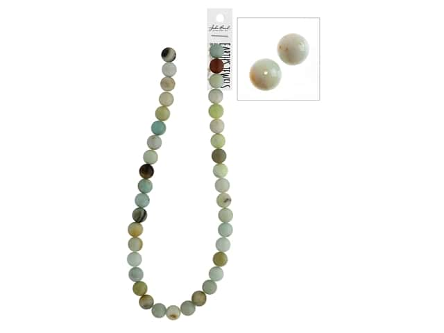 John Bead Semi-Precious 16 in. 10 mm Round Amazonite Natural