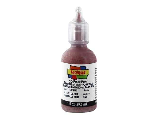 Scribbles 3D Fabric Paint - Glittering Ruby 1 oz.