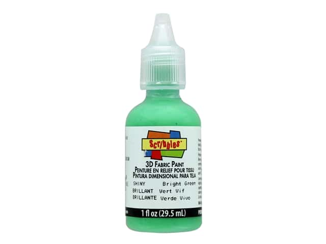Scribbles 3D Fabric Paint 1 oz. Shiny Bright Green