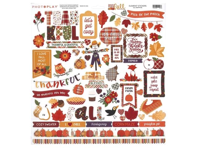 Photo Play Collection Mad 4 Plaid Fall Sticker Element 12 in. x 12 in.