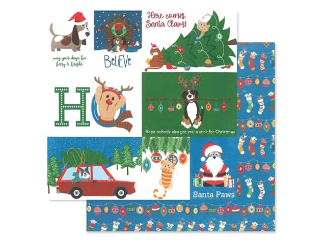 Photo Play 12 x 12 in. Paper Muttcracker Santa Paws