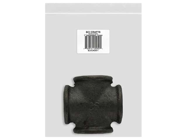 BCI Crafts Galvanized Pipe Cross Fitting 1 in. Black