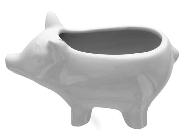 Leisure Arts Ceramic Vase White Pig 3.5 in.