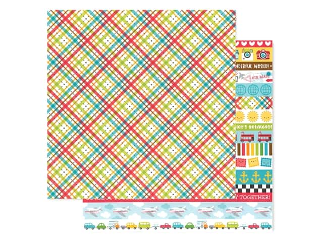 Doodlebug Collection I Heart Travel Paper 12 in. x 12 in. Plaid To Be Here