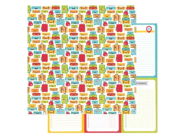 Doodlebug Collection I Heart Travel Paper 12 in. x 12 in. Vacation Time