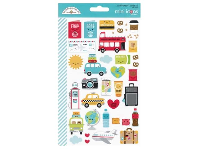 Doodlebug Collection I Heart Travel Sticker Mini Icons