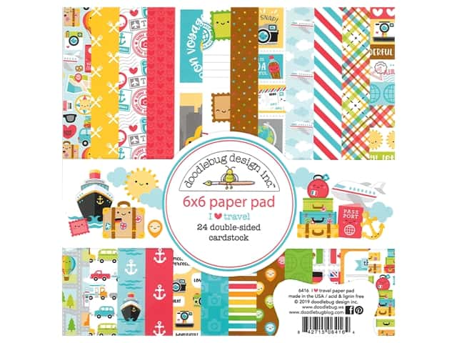 Doodlebug Collection I Heart Travel Paper Pad 6 in. x 6 in.